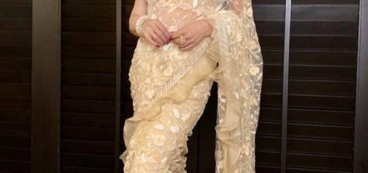 Madhuri Dixit Nene's Nude Floral Sari